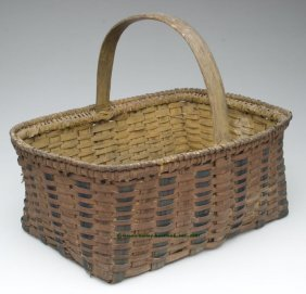 VIRGINIA TWO-TONE WHITE OAK SPLINT BASKET, Rectan