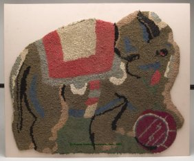 AMERICAN CIRCUS ELEPHANT HOOKED RUG, Shaped Form,