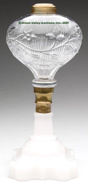 PERIWINKLE STAND LAMP,  Kerosene Period, Colorless