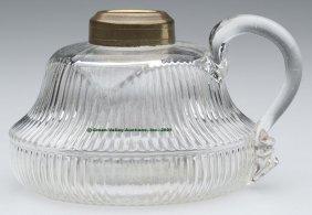 REEDED FINGER LAMP,  Kerosene Period, Colorless, Ap
