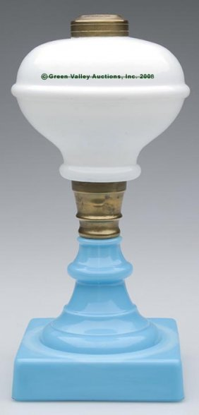 RING FONT STAND LAMP,  Kerosene Period, Opaque Whit