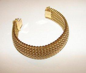 14K Yellow Gold Woven Mesh Bracelet.