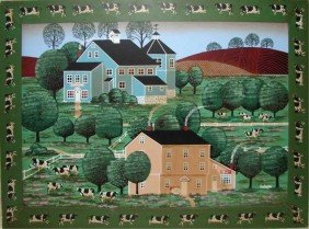 66 Oil Painting Naive Farm Scene Signed Huntington