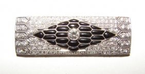 18K White Gold/Diamond & Onyx Pin.
