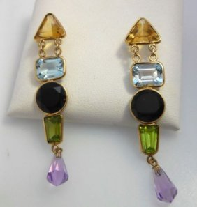 Pair (2) Of 14K Yellow Gold Dangle Earrings.
