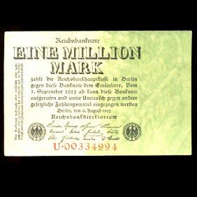 1923 Germany 1m Mark Note Hi Grade EST: $15 - $30 (C