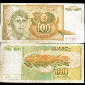 1990 Yugoslavia 100 Dinara Scarce Hi Grade Note EST