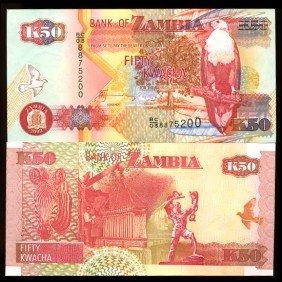 2003 Zambia 50 Kwacha Crisp Unc Note EST: $9 - $18