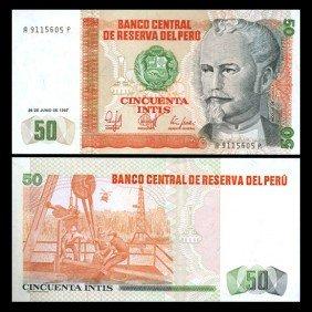 1987 Peru 50 Intis Crisp Uncirculated Note