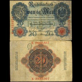 1910 Germany 20 Mark Note Hi Grade