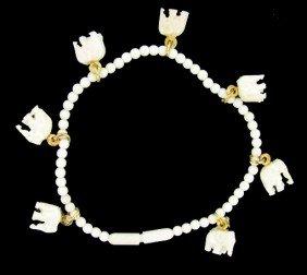 Ivory Carved Elephant Bracelet W/ Gold Vermeil