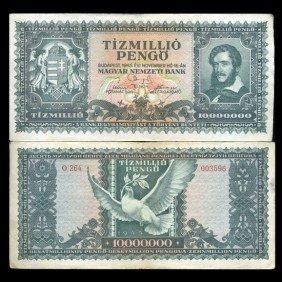 1946 Hungary 10000000 Pengo Note Hi Grade Scarce