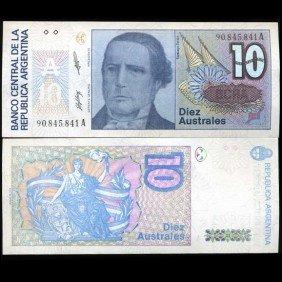 1989 Argentina 10 Australes Note Crisp Unc
