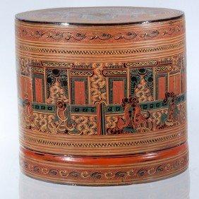 Burmese Red Laquerware Food Container