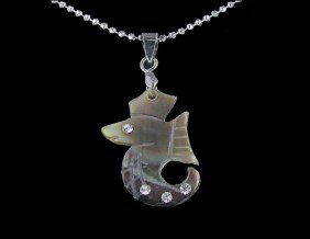 18k WG Plated Mother Of Pearl Seahorse Necklace