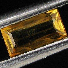 0.25ct Orange Yellow Songea Sapphire Baguette