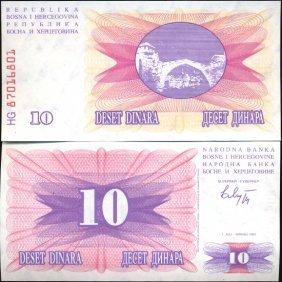 1992 Bosnia 10 Dinara Crisp Uncirculated Note EST: