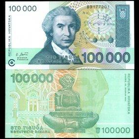 2003 Croatia 100000 Dinara Note Crisp Unc EST: $9 -