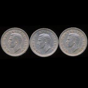 1947/52 New Zealand 3p VF/XF 3pcs EST: $36 - $72 (C