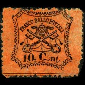 1868 Papal States 10c Stamp MINT NG ERROR EST: $120