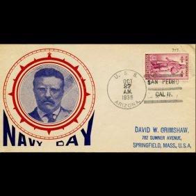 1936 US 3c Navy Day Cover USS Arizona RARE