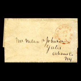1849 Rochester NY Stampless Cover SCARCE