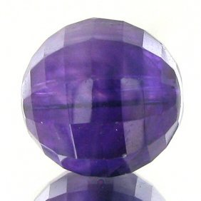 11.26ct Faceted Uruguay Purple Amethyst Round Bead