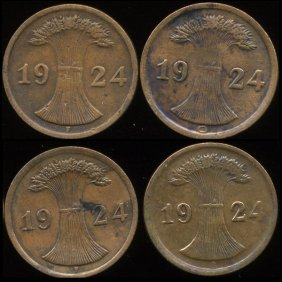 1924 Germany 2pf VF/XF 4Pcs.