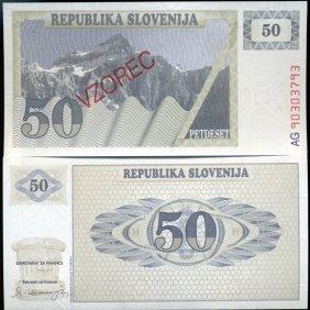 1991 Slovenia 50 T Specimen Crisp Unc Note