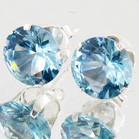10twc Blue Lab Diamond Wh Gold Vermeil/925 Stud Ear
