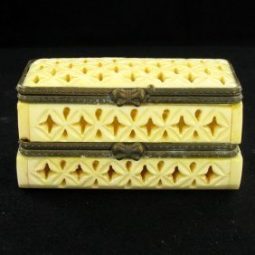 Chinese Handcarved Bone Double Gem Box
