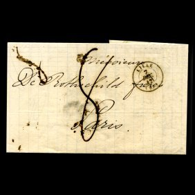 1842 France Lille Stampless Cover SCARCE