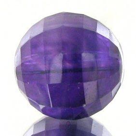 11.66ct Faceted Uruguay Purple Amethyst Round Bead