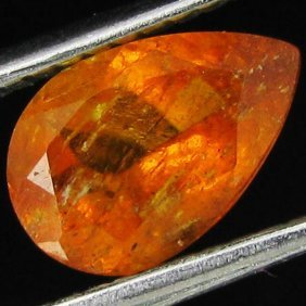 1.15ct Mandarin Fire Orange Clinohumite Pear