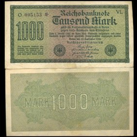 1922 Germany 1000 Mark Note Hi Grade Scarce