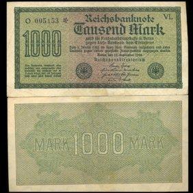1922 Germany 1000 Mark Note Hi Grade Scarce