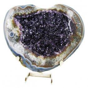 78090ct Amethyst Geode Heart Shaped Cut Half