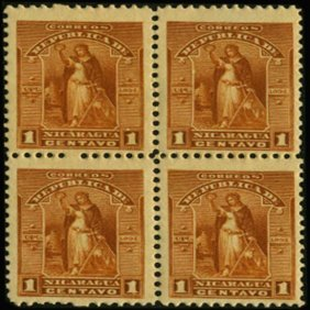 1894 Nicaragua 1c UPU Block Of 4 Error