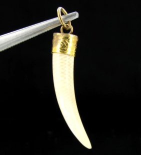Ivory Carved Horn Pendant W/ Gold Vermeil