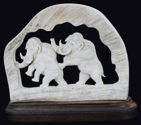 Handcarved Moose Antler Wolly Mammoths