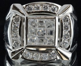 89.25twc Diamond Simulant White Gold Vermeil Ring