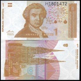 1991 Croatia 1 Dinar Gem Crisp Unc Note