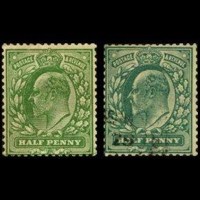 1902-4 Britain Edward 1/2p Stamp Pair