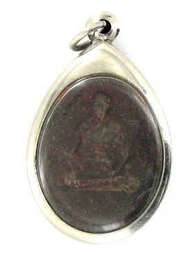Vintage Thai Clay Monk Amulet In Nickel Pendant Case