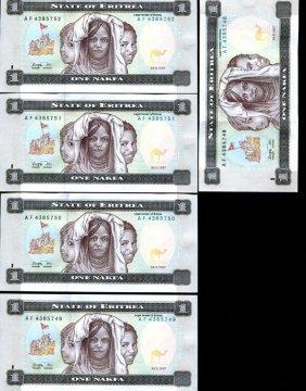 1997 Eritrea 1n Crisp Unc Note 10pcs Scarce Sequential