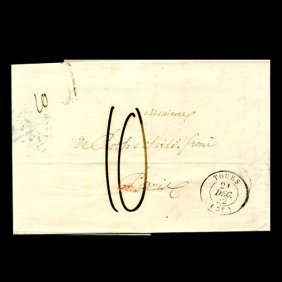 1861 France Tours Stampless Cover Scarce
