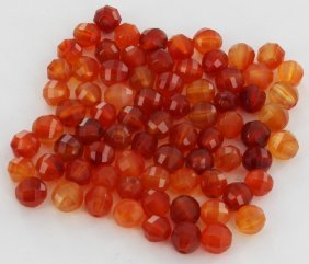 101.1ct Fire Red Carnelian Round Beads Parcel