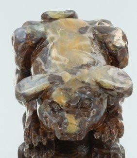 635ct Natural Boulder Opal Carved Dog