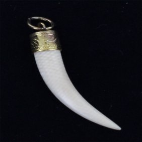 Bone Carved Horn Pendant W/ Gold Vermeil