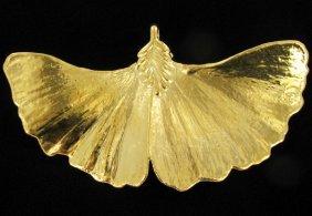 Gold Filled Large Natural Leaf Pendant
